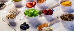 Bowls of various fruits and nuts
