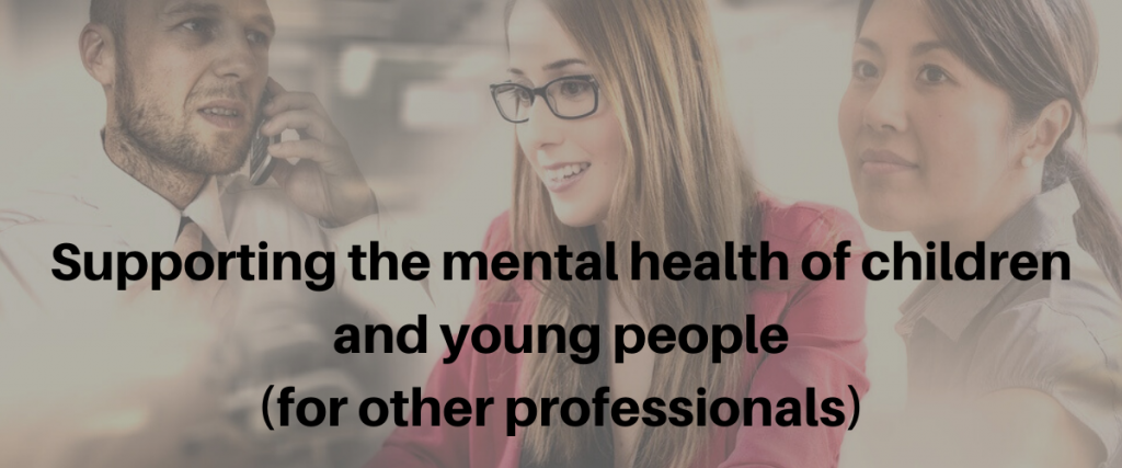 Three professionals in the background with the text supporting the mental health of children and young people (for other professionals).
