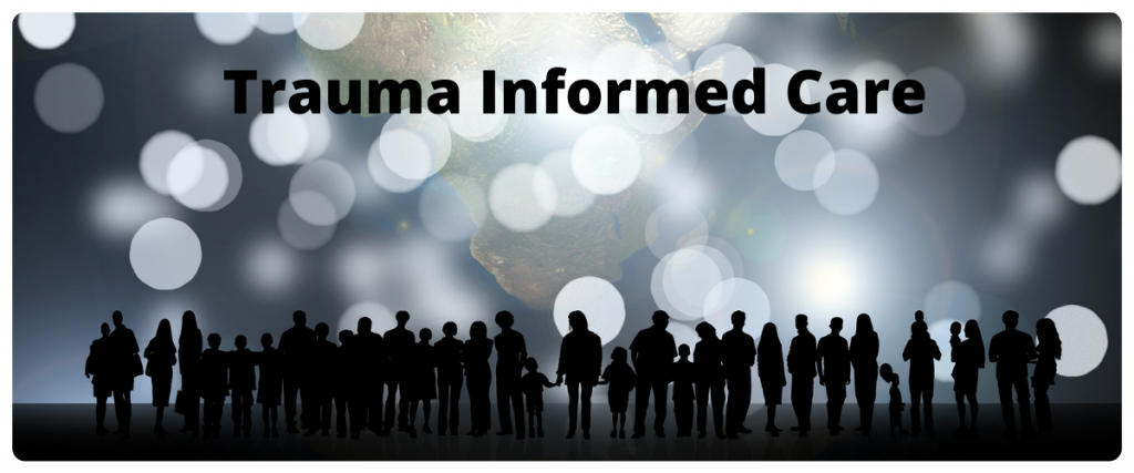 A row of silhouettes of people of all ages below circular white lights with the text trauma informed care.